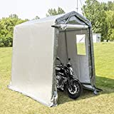 Happybuy Portable Storage Shed 6x10x7.8 ft, Shed in A Box with Roll up Door, Storage Shelter Logic Portable Garage Shelter Steel Metal Peak Roof Grey for Motorcycle Garden Patio Storage