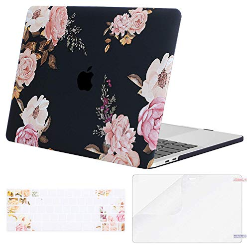 MOSISO MacBook Pro 15 inch Case 2019 2018 2017 2016 Release A1990 A1707, Plastic Peony Hard Shell & Keyboard Cover & Screen Protector Compatible with MacBook Pro 15 Touch Bar, Black