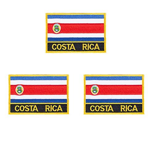 Costa Rica Aufnäher, bestickt, Flagge, Emblem, zum Aufbügeln oder Aufnähen, 3 Stück