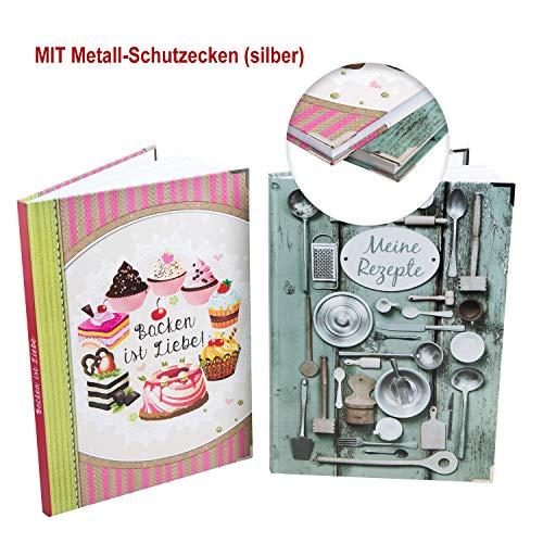 Logbuch-uitgeverij receptenboekje set kookboek + bakboek DIN A4 leeg om vrij te maken - zonder specificaties voor eigen recepten kookrecepten bakrecepten