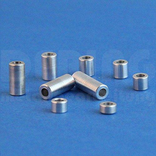 Preisvergleich Produktbild Distanzhülsen M5 aus Aluminium,  D: 10mm,  L: 20mm (VPE = 2 Stück) / Abstandhalter / Abstandshülse / Distanzbuchse / Distanzring / Distanzstück / Buchse / Rohling / Rohrbuchse / Verstärkungshülse