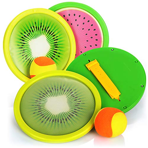 com-four® 6-teiliges Klettball-Set - Wurf-Ballspiel für Kinder und Erwachsene - Fang-Ballspiel für Strand, Garten, Park und Spielplatz (06-TLG - Kiwi/Melone)