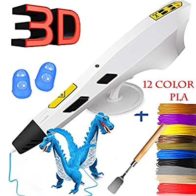 3D Printing Pen Newest Version Intelligent 3D Drawing Pens Compatible with 1.75mm PLA/ABS Filament,Arts Crafts DIY Printer with 12 Colors PLA Filaments Refills for Kids Toys and Adults-White