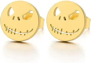 2pcs Mens Womens Steel Little Monster Stud Earrings, Screw Back, Rock Punk Hipster