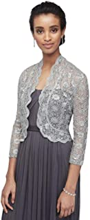 3/4 Sleeve Sequin Lace Jacket with Scalloped Trim Style 3158M