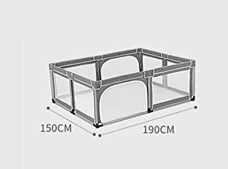 MJY Safety Fence Playpens with Mat Gray Child Safety Fence Portable Folding Nursery Center Indoor Outdoor Game  150X190Cm