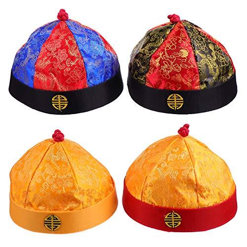 IMIKEYA 4 Piezas de Sombrero de Juego de rol para Adultos del Rey Chino Disfraz de Cosplay Sombrero de Imperial para Hombres Gorra de Chino Qing Tang para Fiestas de Carnaval