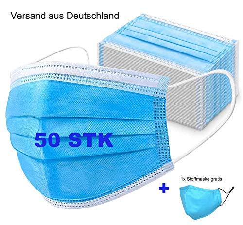 Mundschutz Masken hohe Trage Komfort Einwegmasken 3-Lagig Mund und Nasenschutz Masken Mund-Nasen Abdeckung aus Vlies 50 STK und 1 Baumwolle (100%) Stoffmaske Versand aus Deutschland