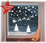 das-label Wiederverwendbare winterliche Fensterbilder weiß | Weihnachten | Fensterdeko | konturgetanzt ohne transparenten Hintergrund (Weihnachtsschlitten mit Bäumen und Sterne)