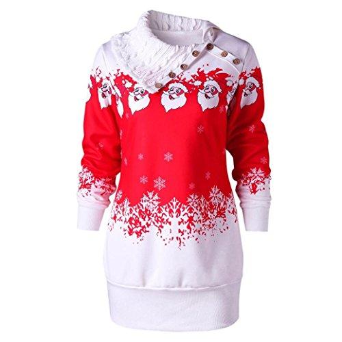 KOLY Donna Christmas Santa Claus Snowflake Print Abito Felpa Tunica Taglie Forti Felpe Maglione Manica Maglione Dolcevita Maglione Cappotto Camicetta Pullover Eleganti Vestiti (Red, Asia Size:M)