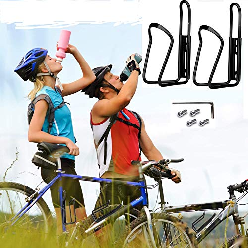 Bicycle Water Bottle Cage, Bicycle Alloy Aluminum Lightweight Water Bottle Holder Cages Brackets for Cycling Fits Any Bike with Easy Installation (2 Pack) (Black)