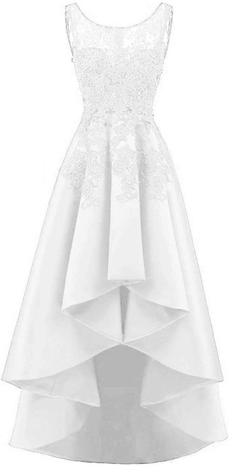 Scarisee Women High Low Prom Dress Lace Beaded Bridesmaid Wedding Party GownSA58