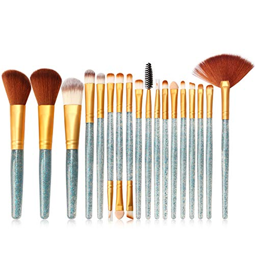 HOUXIAONI 18pcs Multifonctions Pro Cosmetic Powder Foundation Eyeshadow Eyeliner Lip Makeup Brushes Sets,1-OneSize