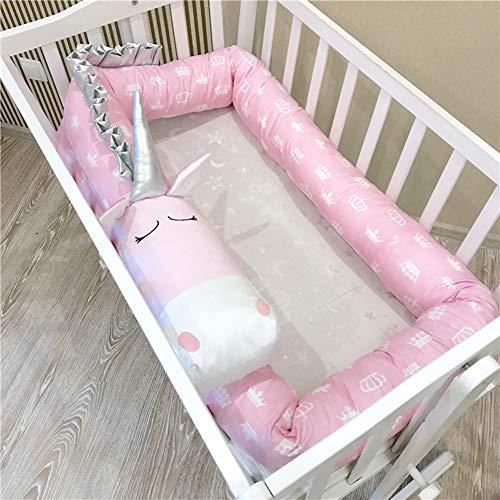 YUEHAPPY® Protector Cuna Chichonera de Cuna y Cama para Bebé Cabeza Cojín de Barandillas Unicornio Rosa 3D Dibujos Animados (Unicorn),3m