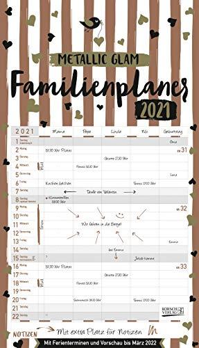 Familienplaner Metallic Glam 2021: Familienkalender, 5 breite Spalten, echter Metallic Glanz. Mit Ferienterminen, Vorschau bis März 2022 und vielem mehr.