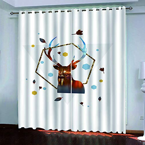 3D Digital Blackout Curtains Suitable For Curtains For Hotels, Bedrooms And Balconies No Need To Punch 2-Piece Set