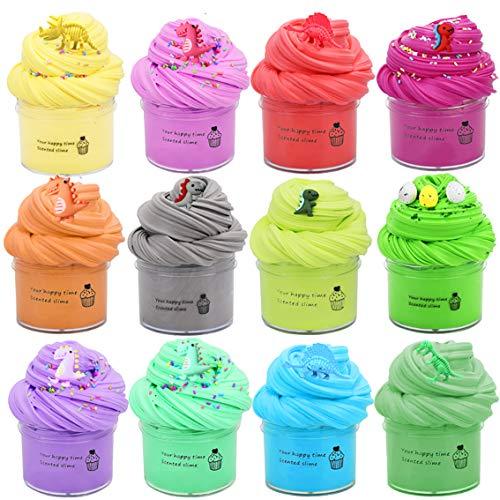 Fluffy Grape Cloud Slime, BESTZY Slime Supplies Juguete de Bricolaje para aliviar el estrés, Masilla de Juguete Flamingo Cloud Slime, DIY Arcilla Colorida Suave, 12 Colors