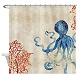 ZLWSSA 3D Wasserdichter Duschvorhang Benutzerdefinierte Indigo Ocean Coral Octopus N Rote Koralle Dekoratives Gewebe 180x240cm