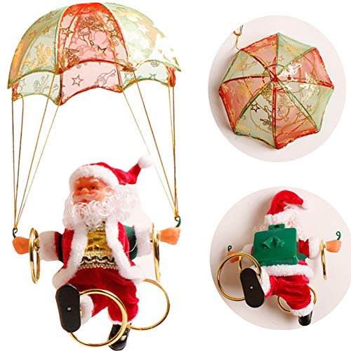 vijTIAN Electric Christmas Toys Doll Creative Parachute Santa Claus Toys For Children Christmas Home Decoration Figurine Ornament Kids Christmas Festival Gifts,Party Decoration Family Party