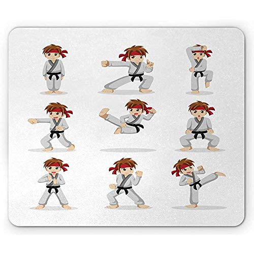 Karate Mouse Pad Kampfkunst Performer Boy Cartoon in verschiedenen Kampfposen