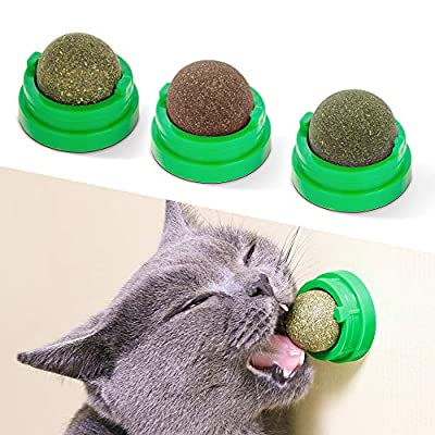 Potaroma 3 Silvervine Catnip Balls, Edible Kitty Toys for Cats Lick, Safe Healthy Kitten Chew Toys, Teeth Cleaning Dental Cat Toy, Cat Wall Treats from Potaroma