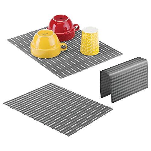 mDesign Juego de 3 escurreplatos de silicona – Práctica rejilla para fregadero que protege la vajilla de arañazos – Protector de fregadero para fregaderos dobles – gris pizarra
