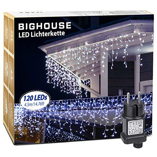 Eisregen Lichterkette Außen, BIGHOUSE 4.5M 120 LED Lichterkette Weihnachten + 10M Netzkabel mit 8 Modi, Wasserdichte IP44 für Weihnachtsbaum, Tannenbaum, Partys, Hochzeit Deko, Kaltesweiß