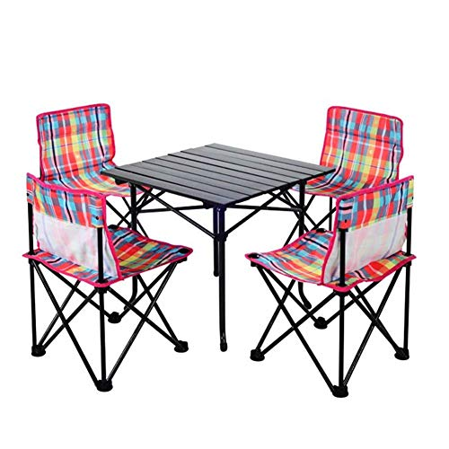 WK Folding Camping Tische, bewegliche Picknick-Tische, Klapp Schreibtisch Klapptisch Set mit 4 Stühlen for Catering Camping Jochbrücke Picknick Garten Innenhof Grillparty Angeln lili (Color : A)