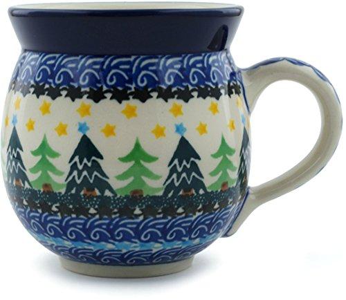Polish Pottery Bubble Mug 12 oz Christmas Evergreen