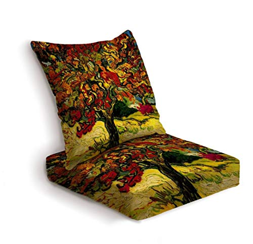 ONENPENRI 2-Piece Outdoor Deep Seat Cushion Set Van Gogh Mulberry Tree Back Seat Lounge Chair Conversation Cushion for Patio Furniture Replacement Seating Cushion