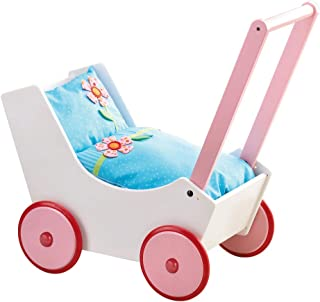 HABA Doll Pram Flowers - Wooden Doll Buggy with Bedding (Made in Germany)