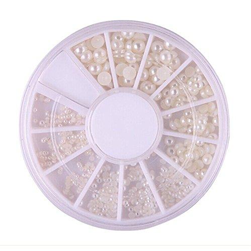 3 D Perlen Steine Fingernägel Nageldesign Perle 3 Größen Weiß Creme