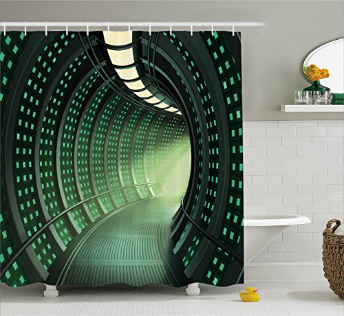 "Ambesonne Outer Space Shower Curtain, Hallway of The Spaceship with Futuristic Elements and Round Ceiling Design, Cloth Fabric Bathroom Decor Set with Hooks, 70"" Long, Grey Green"