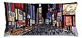 Butlerame Funda de cojín de Almohada, ilustración Colorida del Centro de Nueva York con Estilo cómic Broadway, Funda Decorativa de Almohada Decorativa Rectangular PWC-033
