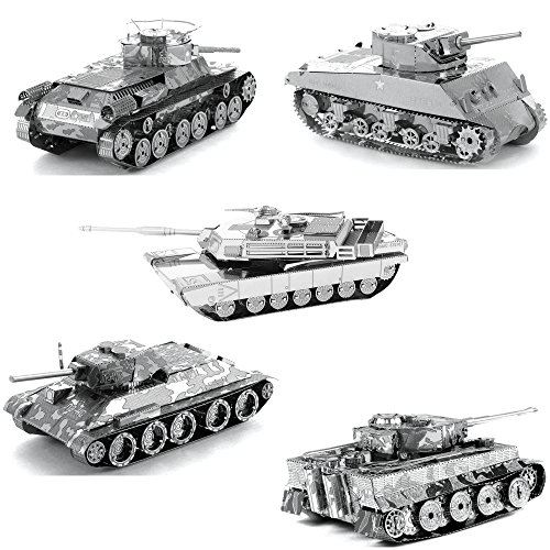 fascinations Metal Earth Tanks 3D Metal Model Kits - M1 Abrams - Tiger 1 - T-34 - Chi-Ha - Sherman - Set of 5