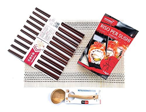 Kit Sushi - Riso Per Sushi Naramaki 1kg + Stuoia di Bambù 30x45cm + Bacchette di Legno 25cm (10 Paia) + Mestolo Legno Ø6x19cm