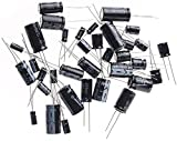 ARCELI 125PCS 25 Valori 16V 25V 50V 1uF a 2200uF Condensatori elettrolitici Assortment Kit assortito Set nero con resistenza marcata Lable