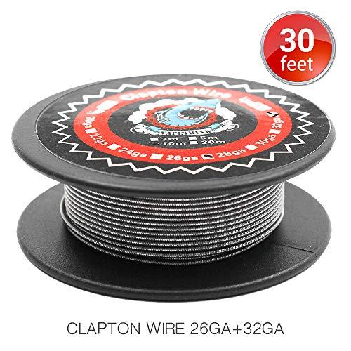 Clapton Draht 26GA/32GA Widerstand Wire, Vapethink Fertigwicklungen Coil Round,10 Meters
