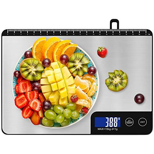 Diyife Bilancia Cucina, [1g-15kg] Bilancia da Cucina con Display LCD Retroilluminato Bilancia Cucina Digitale con Pannello Grande da 22,8 x 16 cm per Cottura, Gioielleria, Medicina (Batterie Incluse)