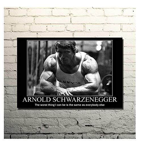 Suuyar Poster Arnold Schwarzenegger Bodybuilding Motivazionale Tela Pittura Stampa Palestra Sala Fitness Sport Immagine Stampa su tela-50x75cm Senza Cornice