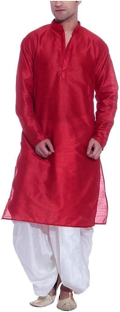 Royal Men's Silk Blend Dhoti & Kurta Set_red