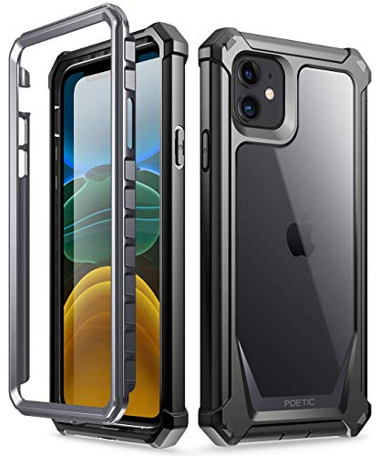 iPhone 11 Case, Poetic Full-Body Hybrid Shockproof Rugged Clear Bumper Cover, Built-in-Screen Protector, Guardian Series, Case for Apple iPhone 11 (2019) 6.1 Inch, Black/Clear