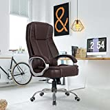 🇮🇳 Made in India 🇮🇳 Product Dimensions: Chair Height (45.5-48.5 inches), Seat Width (21 inches), Seat Depth (21 inches) Internal frame material: Wood, Upholstery cover: Leatherette   Color: Brown   Size: High Back The chair has extra padding on the s...