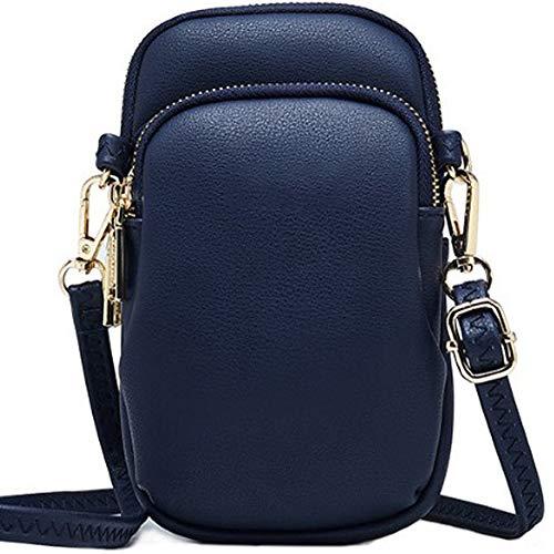WANYIG Crossbody Tasche Damen PU Leder Umhängetasche Frauen Brieftasche Geldbörse Handy Mini-Tasche Kartenhalter Schulter Brieftasche Tasche (Blau)