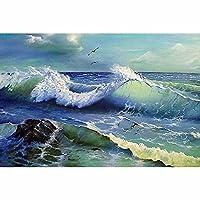 DIYクロスステッチキットダイヤモンド絵画 ラインストーン刺繍アート クラフトキャンバス クロスステッチ ホームウォールデコレーション 海景、海の波、カモメ(30x40)CM