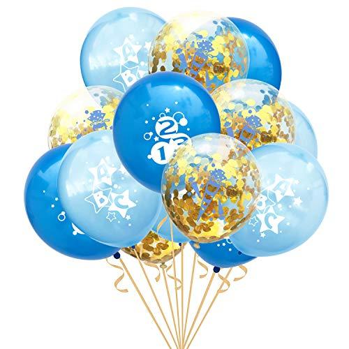Oblique Unique® Konfetti Luftballon Set ABC 123 Zuckertüte für Schuleinführung Schulanfang Einschulung Schule Junge Jungs Deko Ballons im Blau Gold