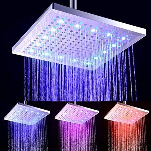 GYL 12 Pulgadas DIRIGIÓ Cuadrado Alcachofa de la Ducha, Sensor de Temperatura 3 Colores cambiantes Abdominales Flujo de Agua accionado, Ducha para el baño