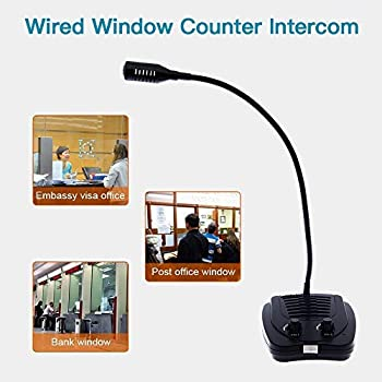 Elikliv Dual-Way Counter Intercom Window Intercom Anti-Interference Bank Window Counter Intercom Speaker System Full Metal Jacket Full Automaticity