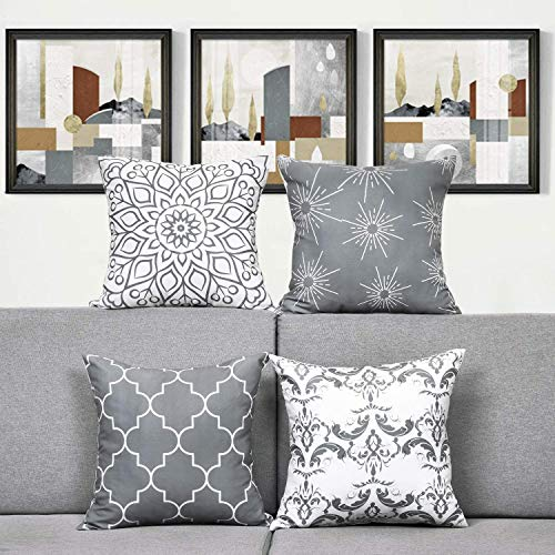 TOMMO Cushion covers 40x40cm Modern Decorative Throw Pillow Covers Cushion Case for Room Bedroom Room Sofa Chair Car, Grey and White, 16 x 16 Inch