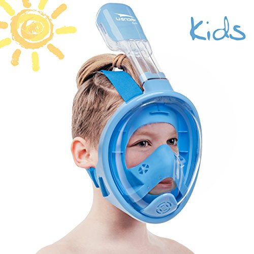 Usnork Full Face Snorkel Mask for Kids and Adults - Snorkel Set with 4 Bonus Items - Anti-Fog and Anti-Leak Easybreath Snorkeling Gear - Dive Scuba Mask with 180 Panoramic View (Blue Kids, X-Small)